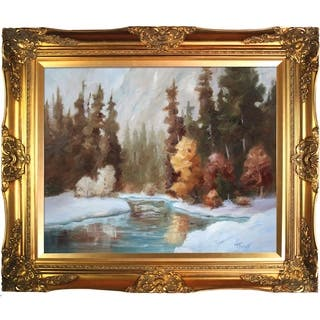 "ArtistBe by overstockArt Winter Landscape by Brenda Thour with Gold Victorian Frame Canvas Wall Art, 28"" x 24"""