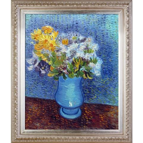 "La Pastiche Vase w/ Lilacs, Daisies and Anemones by Vincent Van Gogh w/ Champagne Elegant Wood Frame Oil Painting, 30"" x 26"""