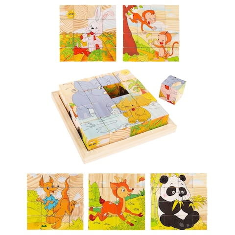 Animal Block Puzzle 6-in-1 Set of Designs on Wood Cubes by Hey! Play! - Green/Orange/Yellow - 5.5 x 5.5 x 1.25