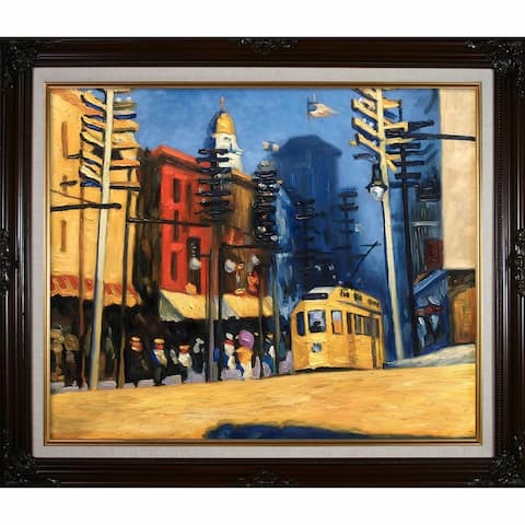 """La Pastiche Yonkers, 1916 by Edward Hopper with Cherry and Gold Vintage Cherry Frame Oil Painting Wall Art, 30"""" x 26"""""""