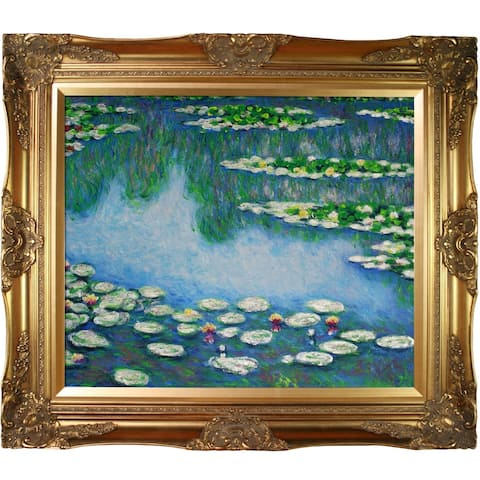 """La Pastiche by overstockArt Water Lilies by Claude Monet with Gold Victorian Frame Oil Painting Wall Art, 32"""" x 28"""""""