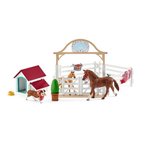 Schleich Horse Club, Hannah's Guest Horses with Ruby the Dog Playset and Toy Figures