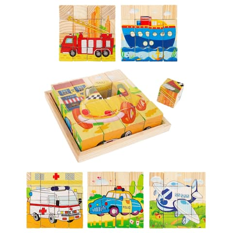 Vehicle Block Puzzle 6-in-1 Set of Designs on Wood Cubes by Hey! Play! - Green/Yellow/Red - 5.5 x 5.5 x 1.25