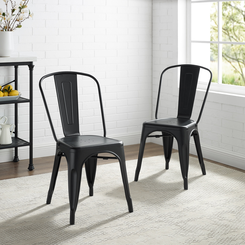 Matte Black 17 Inch Metal Chair