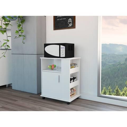 Porch & Den Millen White Rolling Kitchen Pantry Cart