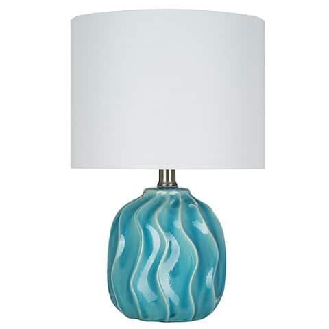 "Catalina Lighting Teal Ceramic Accent Lamp,LED Bulb, 15.25"", 21877-001"
