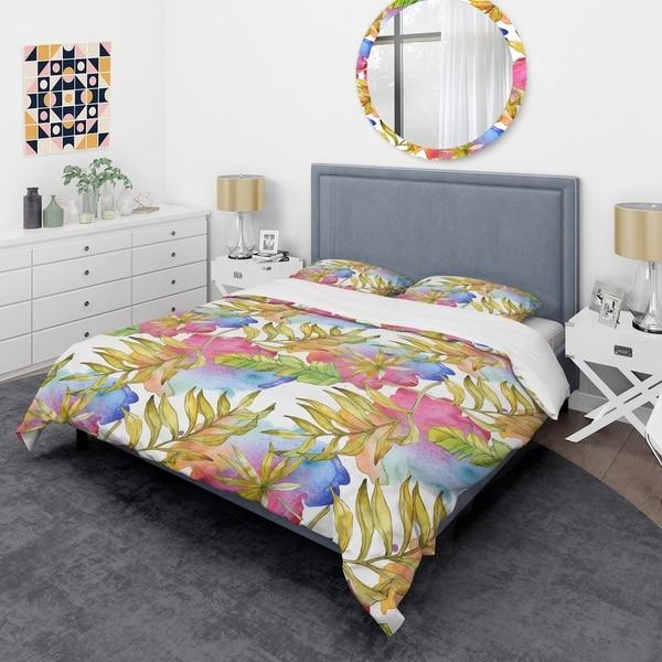 Designart 'Tropical Foliage IV' Mid-Century Duvet Cover Set