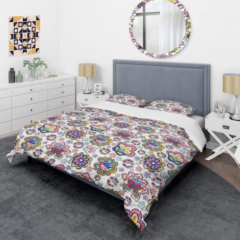 Designart 'Retro handdrawn flowers II' Mid-Century Duvet Cover Set