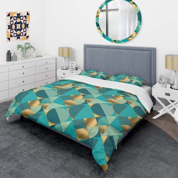 Designart 'Gold and Blue Dynamics II' Mid-Century Duvet Cover Set