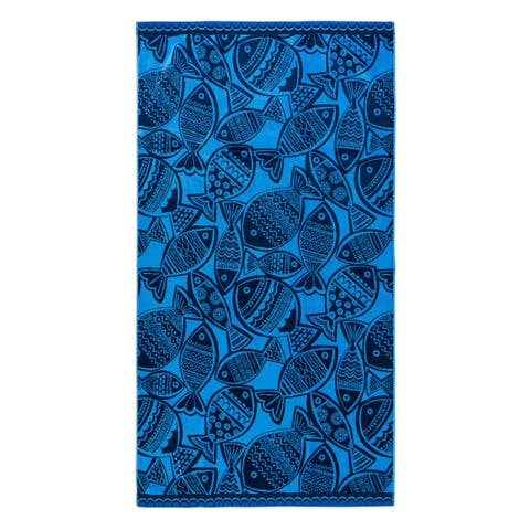 Woodcut Fish Navy Beach Towel - 36x68