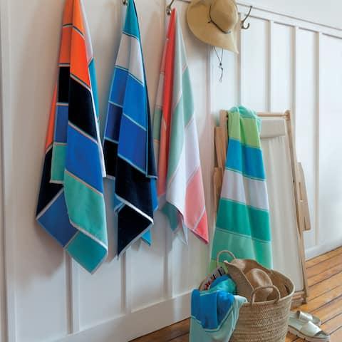 Maya - Orange Navy Beach Towel - 36x68