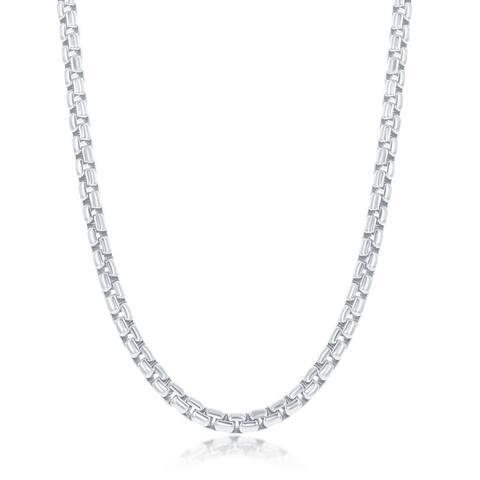 La Preciosa 925 Sterling Silver Italian High Polished Rhodium Plated 3.5mm Round Box 200 Gauge 18, 22, 24 Chain Necklace