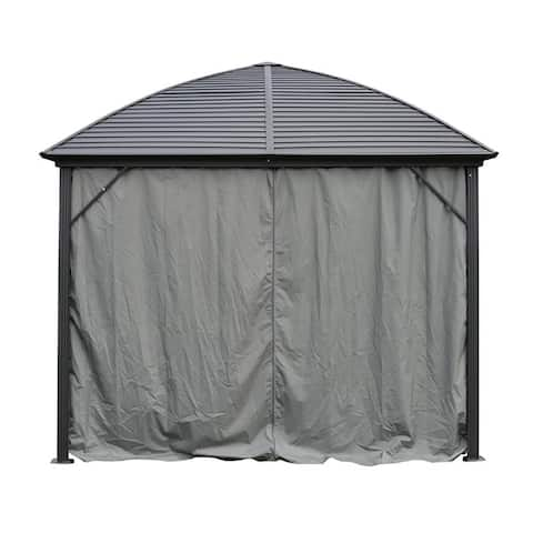 ALEKO UV-Protective Polyester Curtain Panels for Hardtop Round Roof Gazebo - 10 x 10 Feet - Gray - (4) 9.85 x 6.5 foot curtains