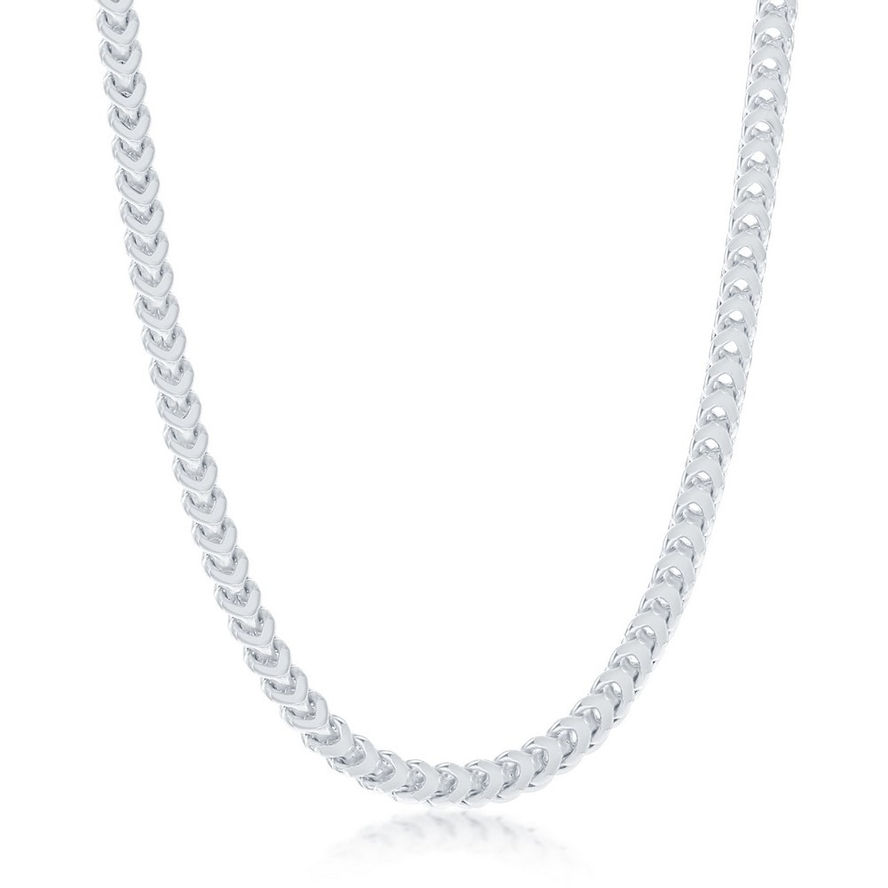 1.3mm Rhodium Plated .925 Sterling Silver Tube Beaded Saturn Chain