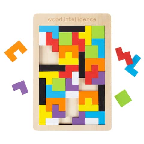 Rainbow Pentominoes 40pc Colorful Interlocking Wooden Block Puzzle STEM Activity for Kids by Hey! Play! - 10.5 x 7 x 0.5