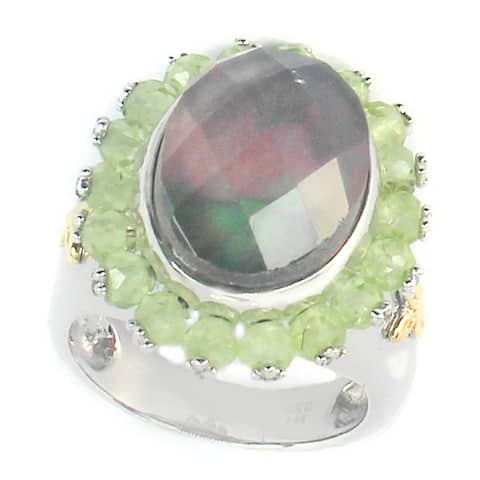 Michael Valitutti Palladium Silver Mother Of Pearl Doublet & Peridot Ring