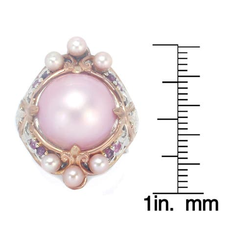 Michael Valitutti Palladium Silver Pink Mabe Pearl, Rhodolite & Pink Sapphire Ring