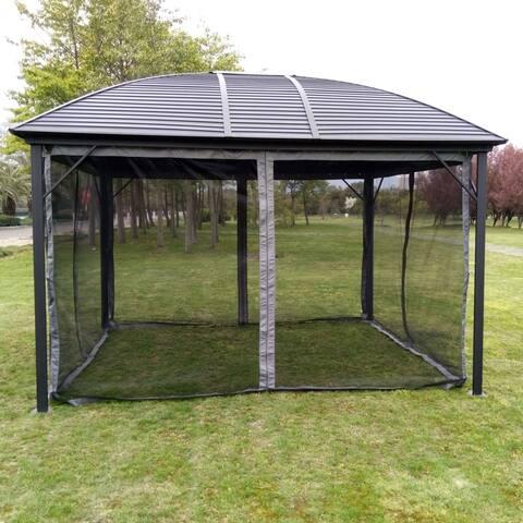 ALEKO Hardtop Round Roof Patio Gazebo with Mosquito Net - 12 x 10 Feet - Black - 12 x 10 x 9 feet