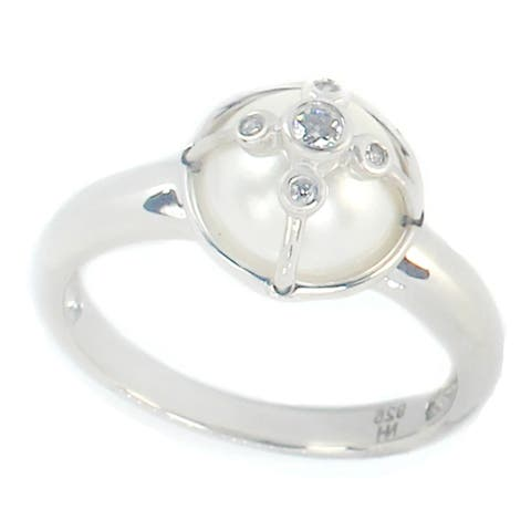 Michael Valitutti Sterling Silver White Mabe Pearl & Cubic Zirconia Ring