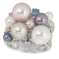 Michael Valitutti Sterling Silver London Blue Topaz, Blue Sapphire & Multi-Color Mabe Pearl Stacking Ring