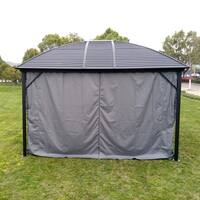 ALEKO UV-Protective Polyester Curtain Panels for Hardtop Roof Gazebo - 12 x 10 Feet - Gray