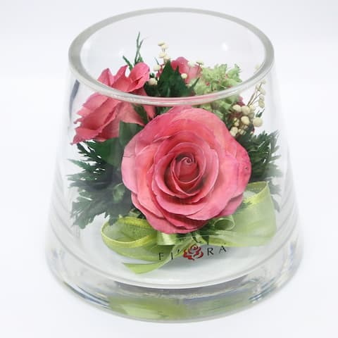 Natural Long Lasting Bright Pink Roses in a Taper-Up Cylinder Glass Vase - N/A
