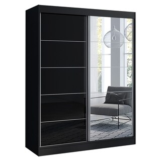 "Aria 2 Door 47""/59"" Wide Modern High Gloss Wardrobe Armoire with Mirror"