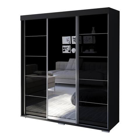 Aria 3 Door 71 inch  Wide Modern High Gloss Wardrobe Armoire with Mirror