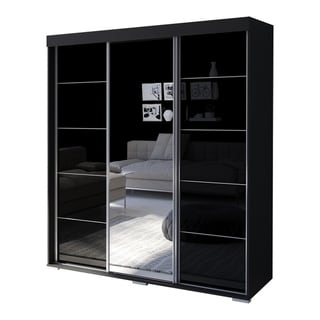 "Aria 3 Door 71"" Wide Modern High Gloss Wardrobe Armoire with Mirror"