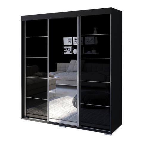 "Aria 3 Door 71"" Wide Modern High Gloss Wardrobe Armoire with Mirror"