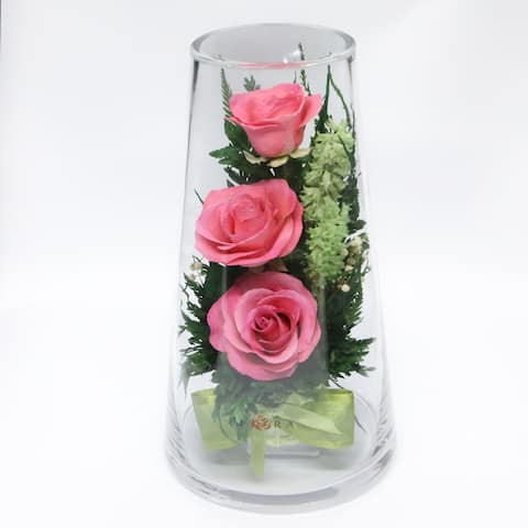 Natural Long Lasting Bright Pink Roses in a Taper-Up Cylinder Glass Vase