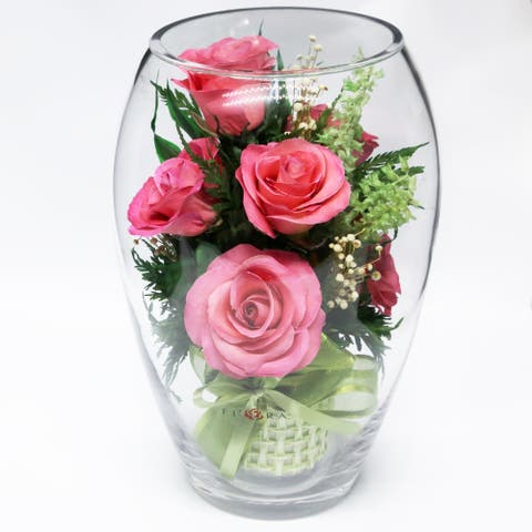 Natural Long Lasting Bright Pink Roses in a Elliptical Round Glass Vase