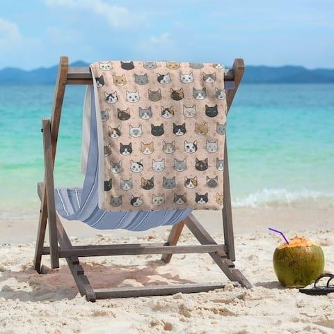 Porch & Den Alecia Kitty Cat Pattern Beach Towel - 36 x 72