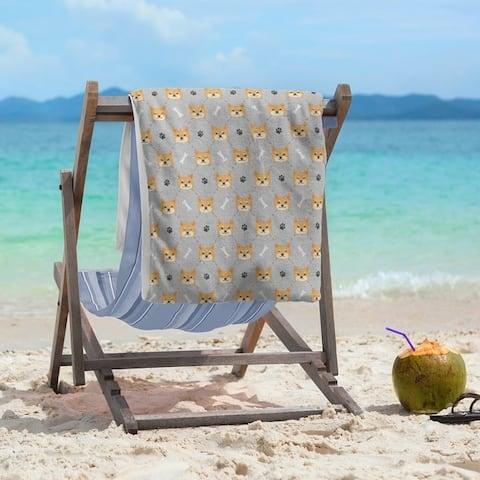 Porch & Den Faircrest Shiba Inu Pattern Beach Towel - 36 x 72