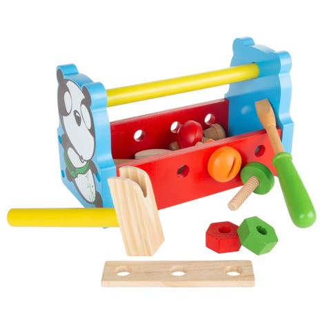 Kids Tool Set Wooden Toy Toolbox Playset with Tools for Children and Toddlers by Hey! Play! - 9 x 4.25 x 5.5