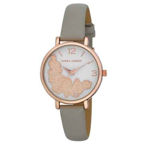 Laura Ashley Womens Rosegold Round Floral Bounty Strap Watch