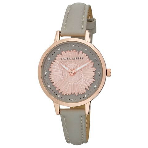 """Laura Ashley Womens Rosegold Round """"Sunflower"""" Dial Strap Watch - N/A"""