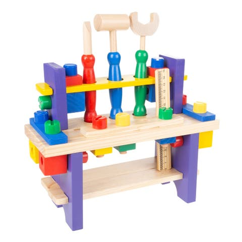 Kids Workbench and Tool Set Solid Wood Tabletop Workshop by Hey! Play! - 10.5 x 4 x 11