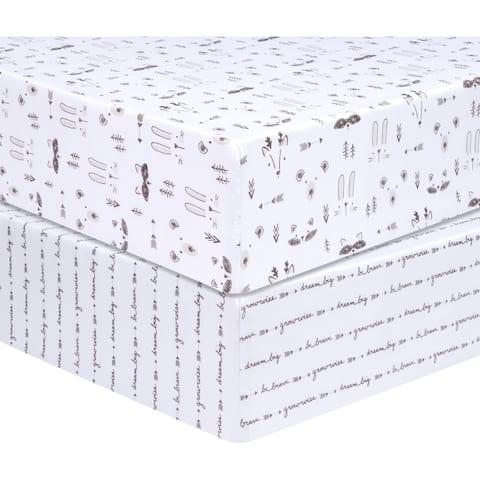 Sammy and Lou Scandi Animal 2 Pack Microfiber Fitted Crib Sheet