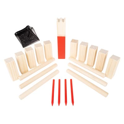 Kubb Viking Chess Game Wood Outdoor Lawn Game by Hey! Play! - Red - 7 x 3 x 9.5