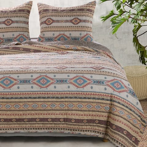 The Curated Nomad San Carlos Tan Cotton Rich Quilt Set