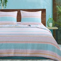 Barefoot Bungalow Pacifica Seashells and Stripes Quilt Set