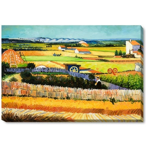 """La Pastiche by overstockArt The Harvest by Vincent Van Gogh Gallery Wrapped Canvas Oil Painting Reproduction 34"""" x 22"""""""