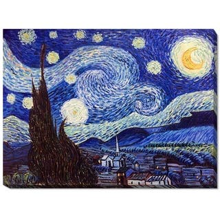 """La Pastiche by overstockArt Starry Night by Vincent Van Gogh Gallery Wrapped Canvas Oil Painting Reproduction 46"""" x 34"""""""