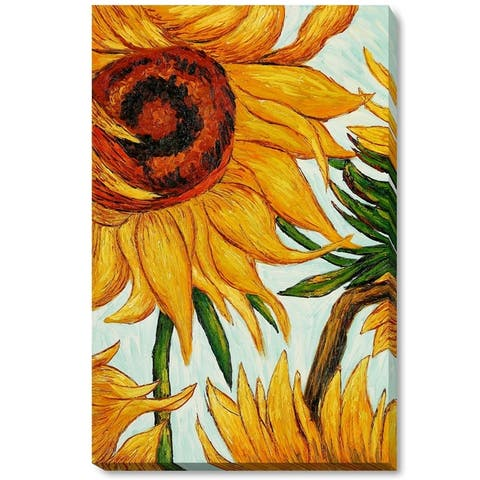 """La Pastiche by overstockArt Sunflowers (detail) by Vincent Van Gogh Gallery Wrapped Canvas Oil Painting Reproduction 34"""" x 22"""""""