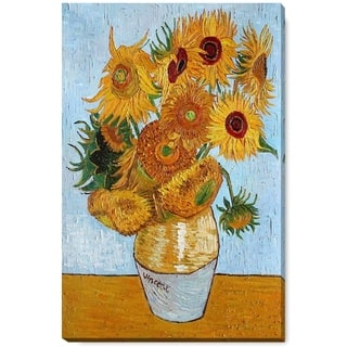 """La Pastiche by overstockArt Sunflowers by Vincent Van Gogh Gallery Wrapped Canvas Oil Painting Reproduction, Wall Art, 34"""" x 22"""""""