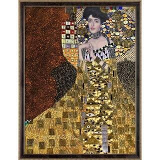 "La Pastiche Portrait of Adele Bloch-Bauer I, 1907 by Gustav Klimt w/ Cabernet and Champagne Athenaeum Framed Art, 43.5"" x 33.5"""