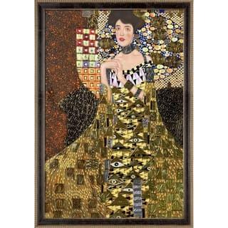 "La Pastiche Portrait of Adele Bloch Bauer I by Gustav Klimt w/ Cabernet and Champagne Athenaeum Framed Art, 39.5"" x 27.5"""