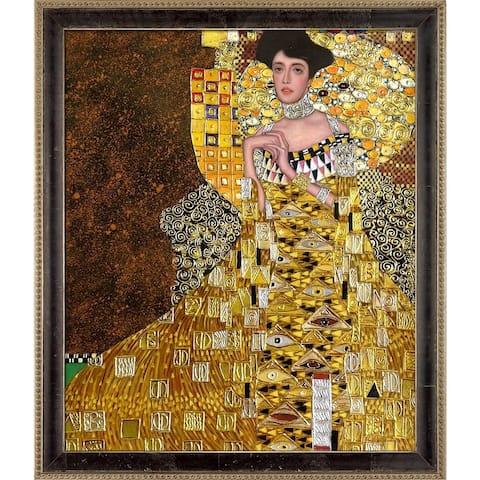 "La Pastiche Portrait of Adele Bloch Bauer I by Gustav Klimt w/ Cabernet and Champagne Athenaeum Framed Art, 27.5"" x 23.5"""
