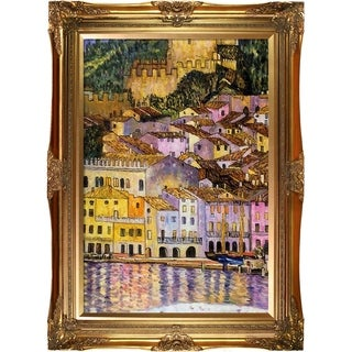 """La Pastiche by overstockArt Malcesine on Lake Garda by Gustav Klimt with Gold Victorian Frame Oil Painting Wall Art, 44"""" x 32"""""""